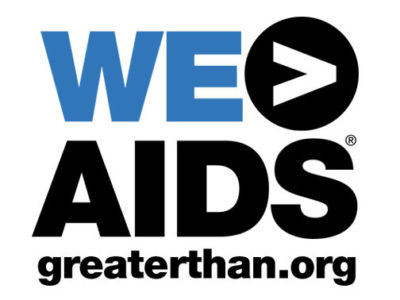 Blue and black We Are Greater Than AIDS logo above greaterthan.org web address