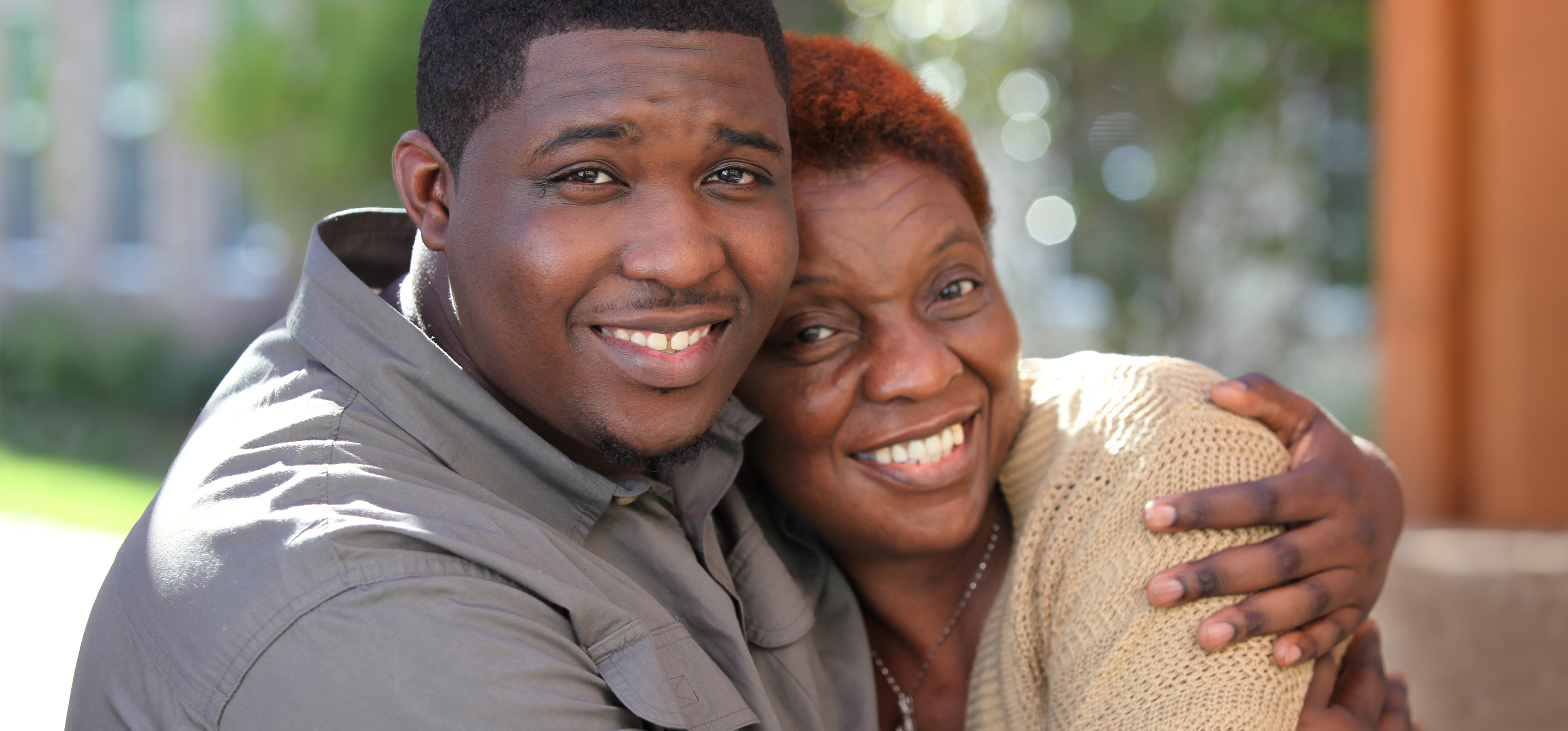 Man hugging his mom