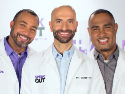 3 male HIV doctors smiling