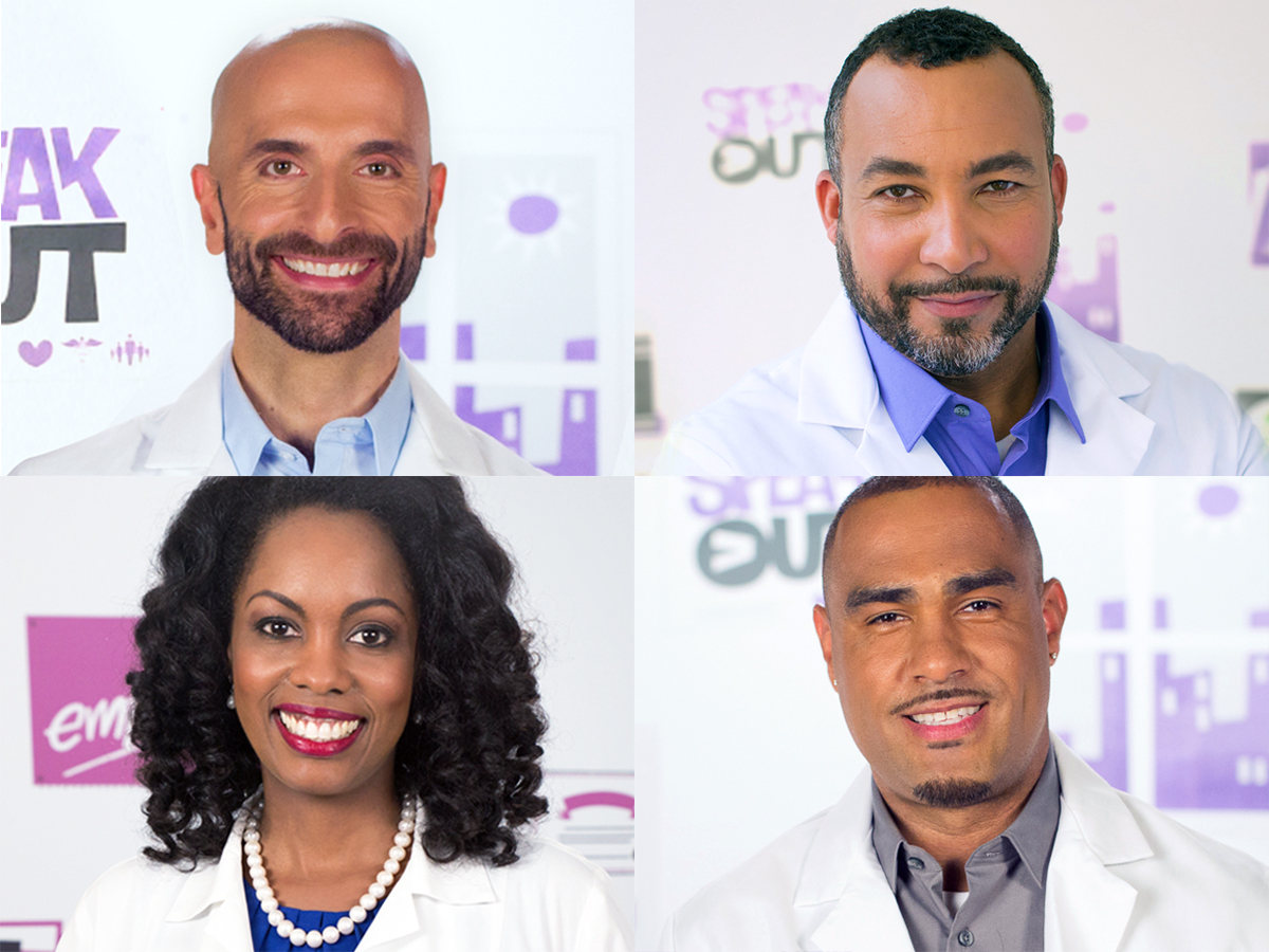 Collage of four smiling HIV doctors for the #AskTheHIVDoc video series