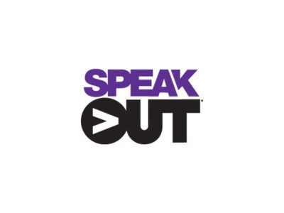 Speak Out purple and black logo