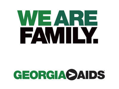 We Are Family and Greater is Greater Than AIDS logos