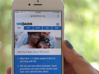 Greater Than AIDS new website on a smartphone.