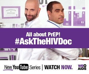 "HIV specialists standing back to back with text overlay reading ""All About PrEP! #AskTheHIVDoc"""
