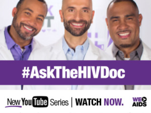 Three HIV specialists smiling with a text overlay reading #AskTheHIVDoc