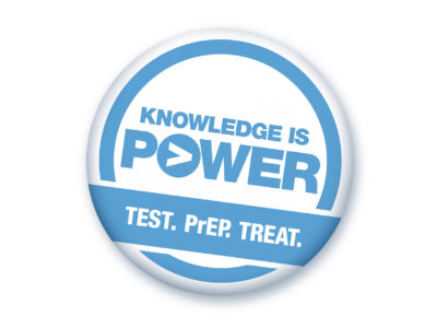 "Circular graphic with blue text ""Knowledge is Power. Test. PrEP. Treat."" against a white background"