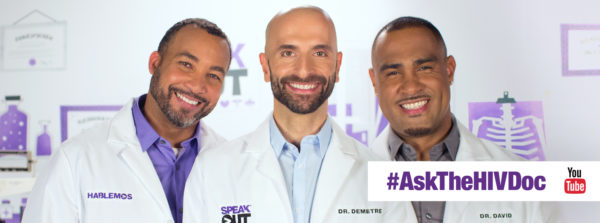 Three HIV specialists smiling with an #AskTheHIVDoc logo overlay