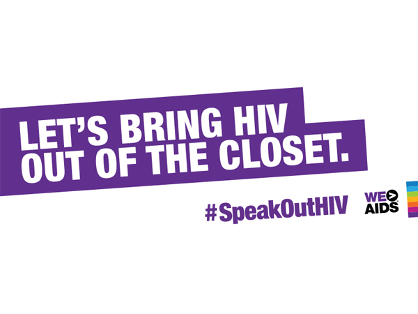 Let's Bring HIV Out of the Closet purple and white graphic
