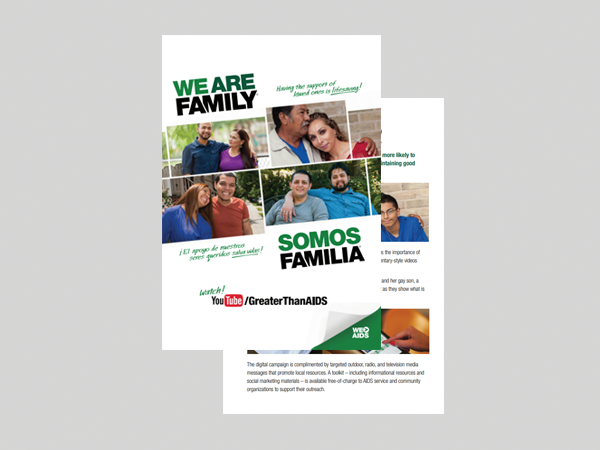 We Are Family English and Spanish Postcard - Greater Than AIDS