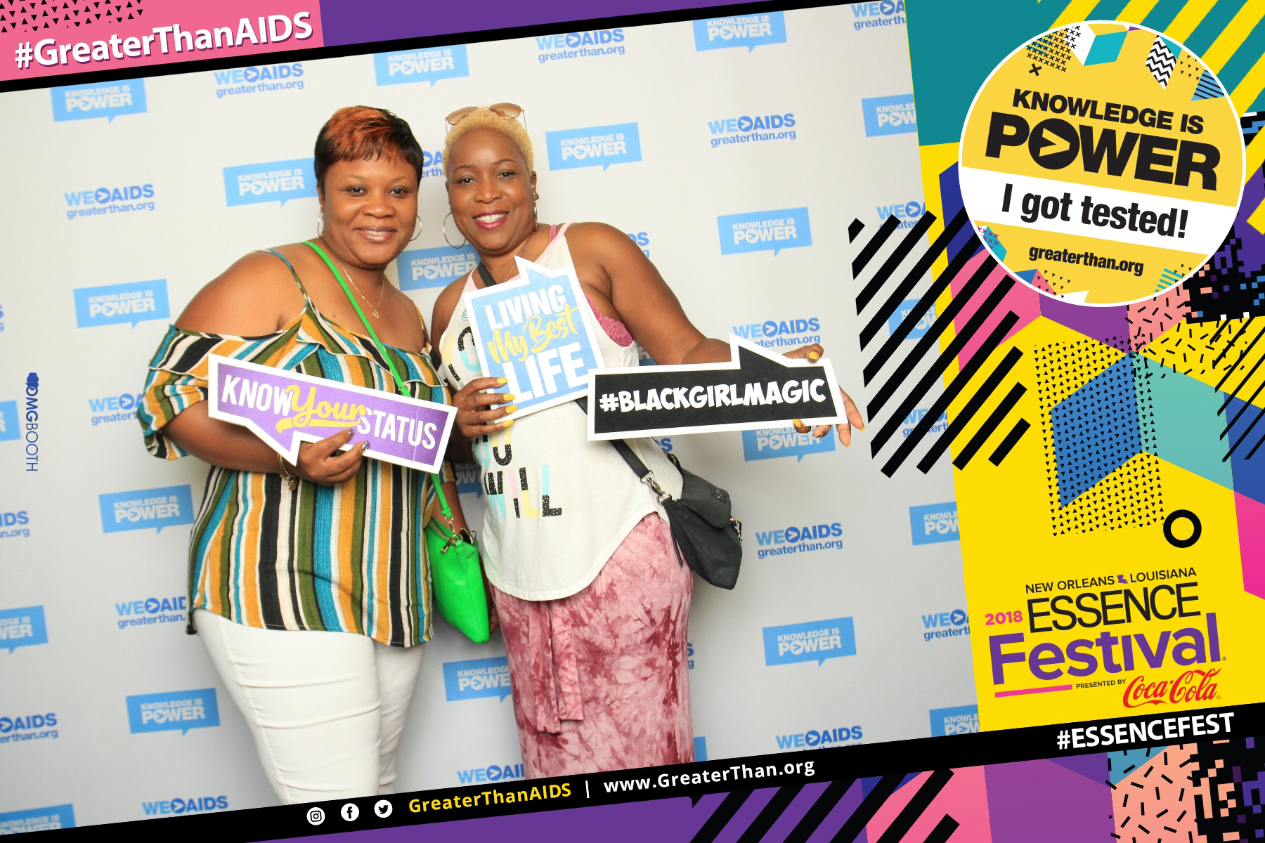 "Two women holdings reading ""Know You Status,"" ""Living my Best Life,"" and ""#BlackGirlMagic"" at #ESSENCEFest 2018"