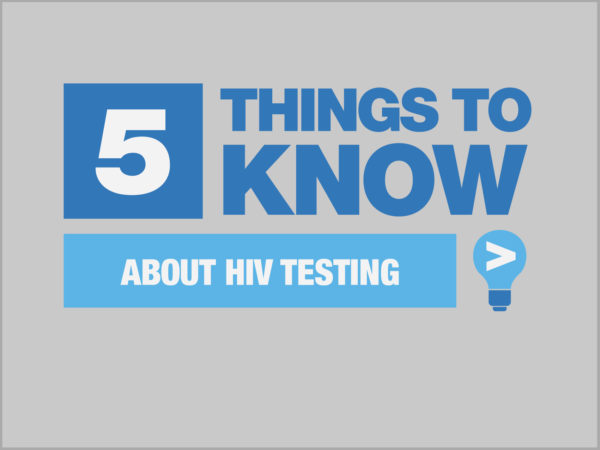 Blue and white Five Things To Know About HIV Testing graphic on gray background
