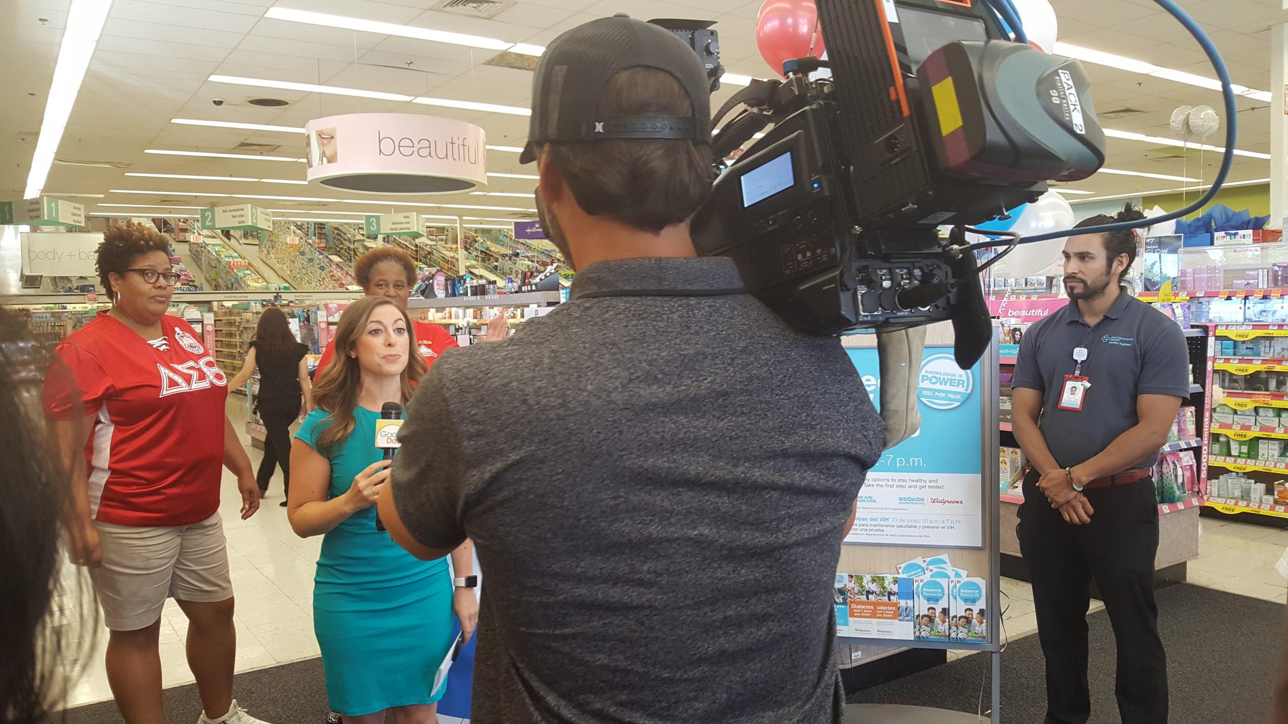 Filming in Walgreens