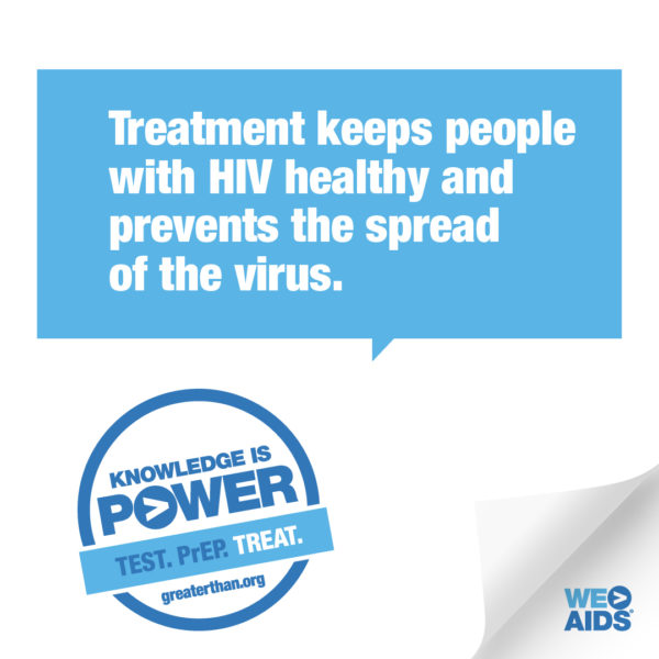 Knowledge is Power campaign graphic promoting HIV treatment