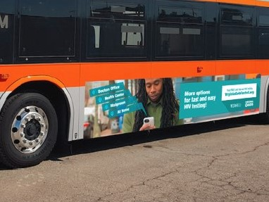Virginia Gets Tested advertisement banner on the side of a bus
