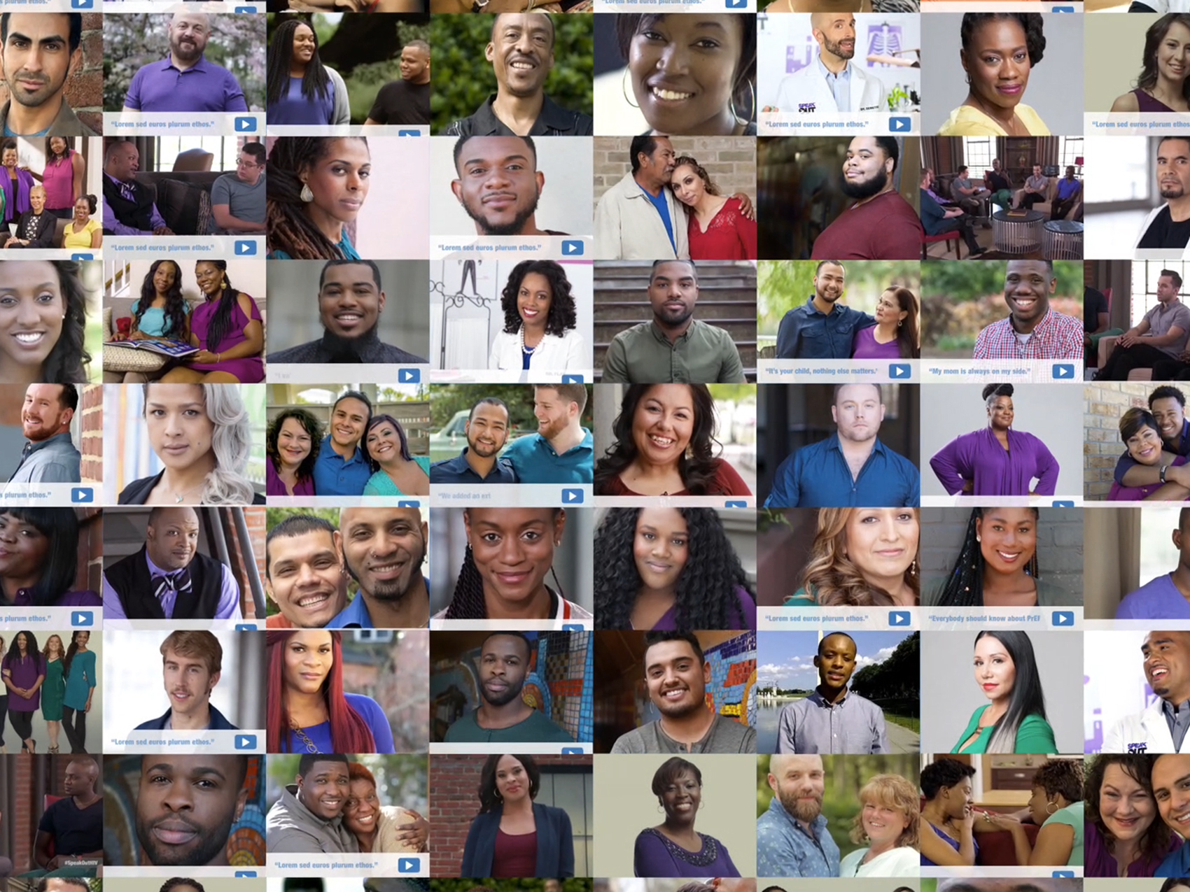 Large collage of the Real People. Real Stories. video thumbnails