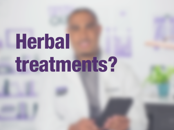 "Graphic with text ""Herbal treatments?"" with doctor in background"