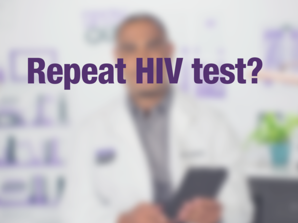 "Graphic with text ""Repeat HIV test?"" with doctor in background"