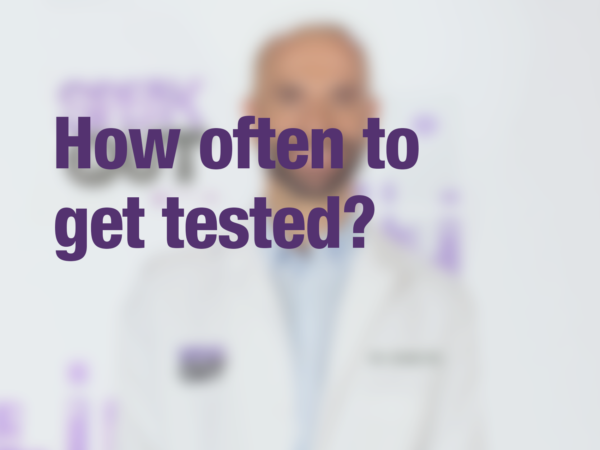 "Graphic with text ""How often to get tested?"" with doctor in background"