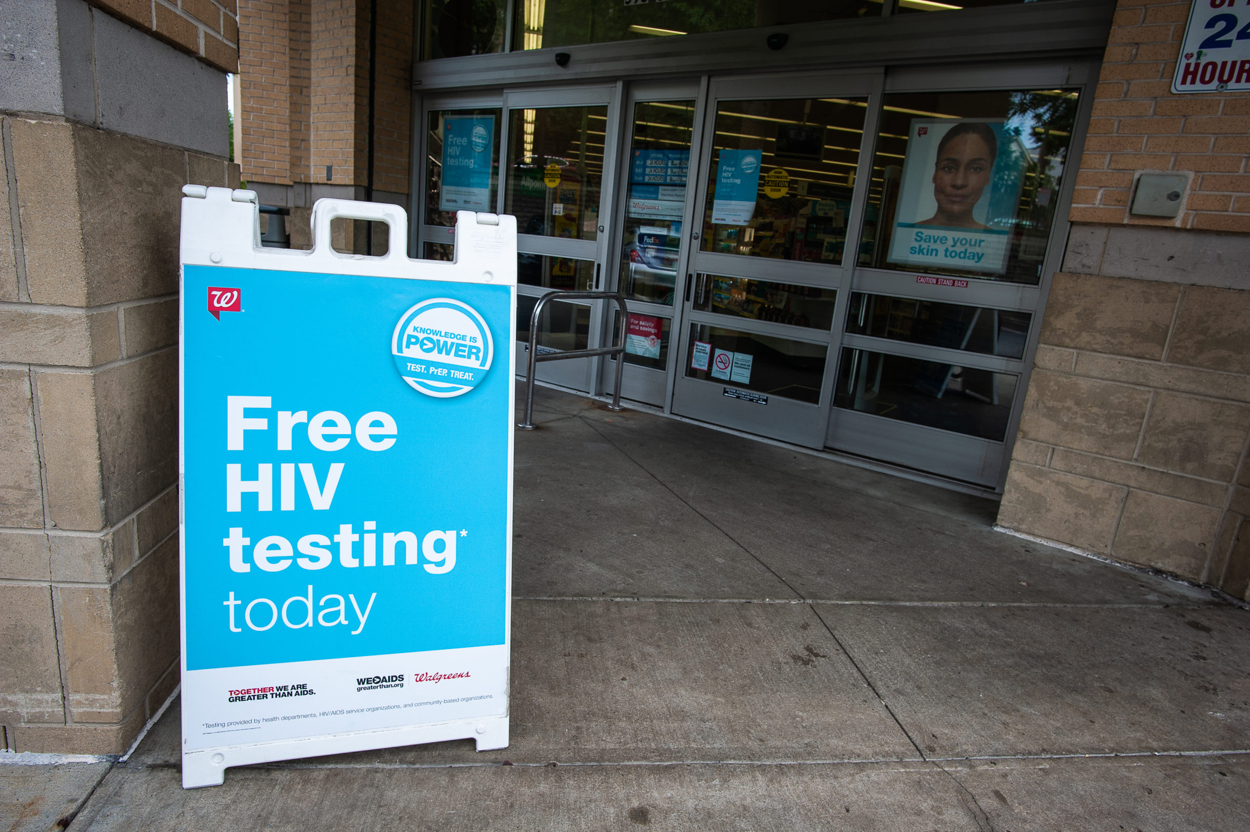 """Free HIV testing today"" sign outside of Walgreens"