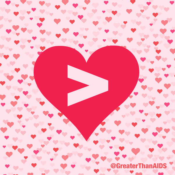 Red heart with Greater Than symbol @GreaterThanAIDS