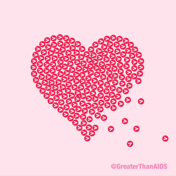Heart made up of Greater Than symbols @GreaterThanAIDS