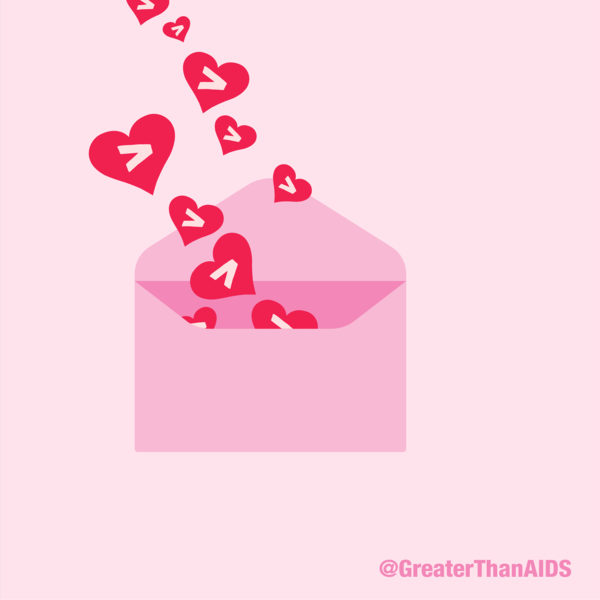 Envelope with hearts @GreaterThanAIDS