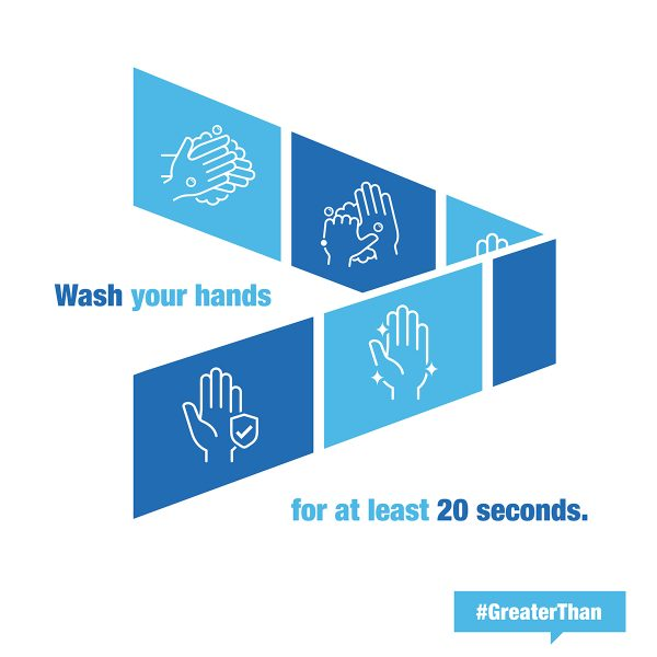 Wash your hands for at least 20 seconds. #GreaterThan